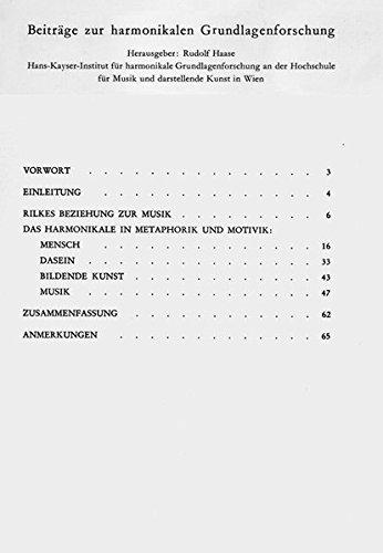 9783851510195: Das Harmonikale in der Musikauffassung Rainer Maria Rilkes (Beiträge zur harmonikalen Grundlagenforschung ; Heft 6) (German Edition)