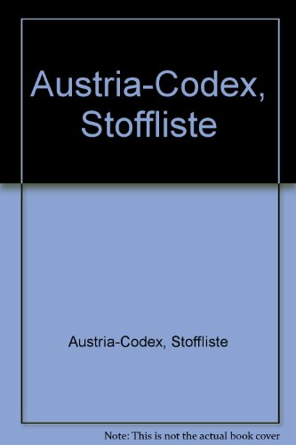 9783852001838: Austria-Codex, Stoffliste