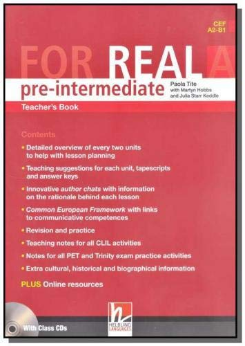 9783852723815: For Real Pre-Intermediate Teacher's Book A with Audio CD's( CEF A2 - B1 )