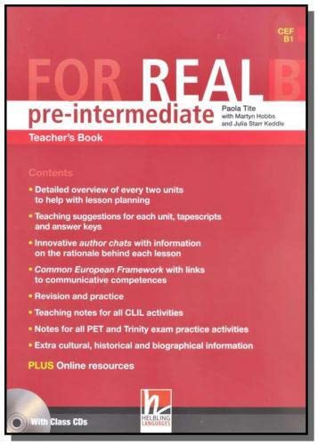 9783852723822: For Real Pre-Intermediate Teacher's Book B with Audio CD's( CEF A2 - B1 )