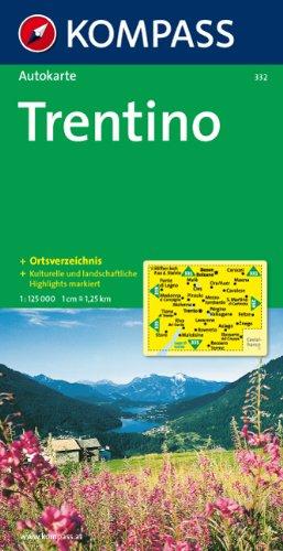 Carta automobilistica n. 332. Trentino 1:125.000 (carta provinciale)
