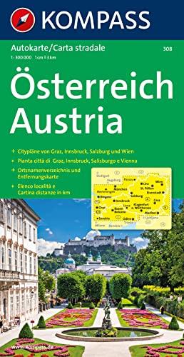 Kompass Karten, Österreich: Straßenkarte mit Ortsnamenverzeichnis 1:300000 (KOMPASS-Autokarten, Band 308)