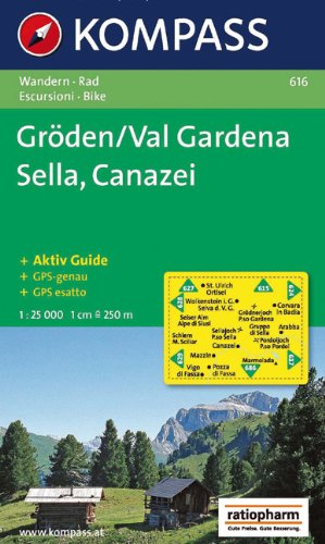 9783854915423: Carta escursionistica n. 616. Val Gardena, Sella, Canazei 1:25.000. Adatto a GPS. DVD-ROM. Digital map (Carte de Randon)