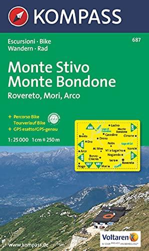 Carta escursionistica n. 687. Trentino, Veneto. Monte Stivo, Monte Bo ndone, Rovereto, Mori, Arco 1...