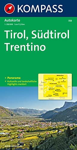 9783854918530: Carta panoramica n. 358. Tirolo. Alto Adige, Trentino-Tirol, Südtirol, Trentino 1:50.000. Con carta stradale