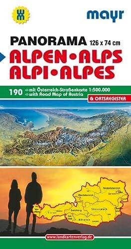 9783854919346: Mayr Panoramakarte Alpen - �sterreich 1 : 500 000: Panorama mit Stra�enkarte �sterreich und Ortsverzeichnis