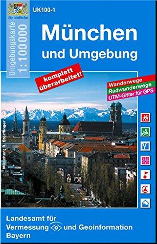 Topographische Sonderkarten Bayern. Sonderblattschnitte auf der Grundlage der amtlichen topographischen Karten, meist grössere Kartenformate mit . Radwanderwegen und UTM-Gitter. UK100-1