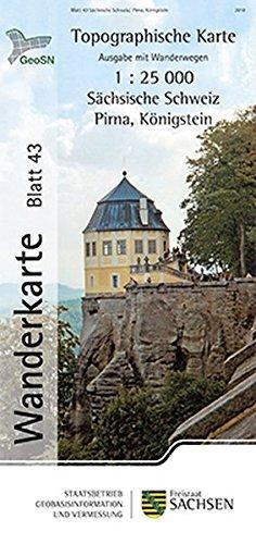 9783861709039: Sächsische Schweiz/Pirna, Königstein: Wanderkarte 1:25 000, Ausgabe mit Wanderwegen (WK25 Blatt 43)