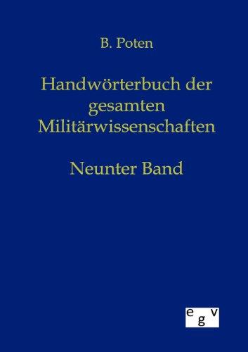 9783863825256: Handwörterbuch der Gesamten Militärwissenschaften (German Edition)