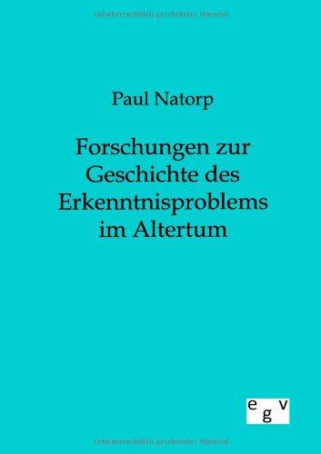 9783863828073: Forschungen zur Geschichte des Erkenntnisproblems im Altertum