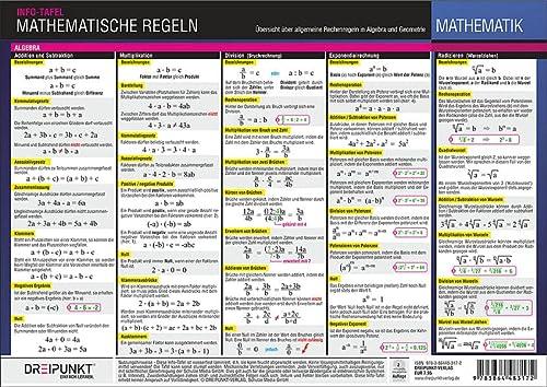 9783864483172: Mathematische Regeln: Übersicht über allgemeine Rechenregeln in Algebra und Geometrie