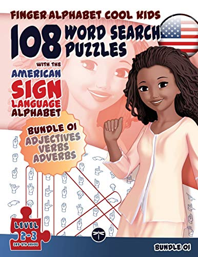 108 Word Search Puzzles with The American Sign Language Alphabet: Bundle 01 (Finger Alphabet Cool ...
