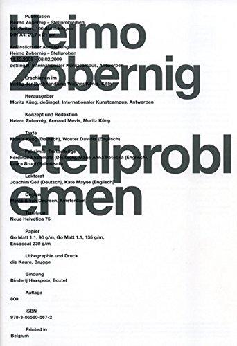 9783865605672: Heimo Zobernig: Stellproblemen