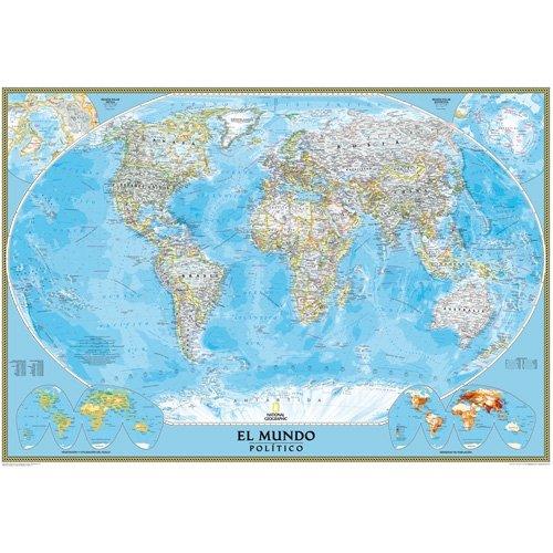 9783865840035: Mapa mural del mundo classic. 100x70 cm. Español. National Geographic.