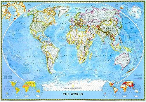 9783865840127: Mapa mural del mundo classic grande plastificado.140x100cm . Español. National Geographic.