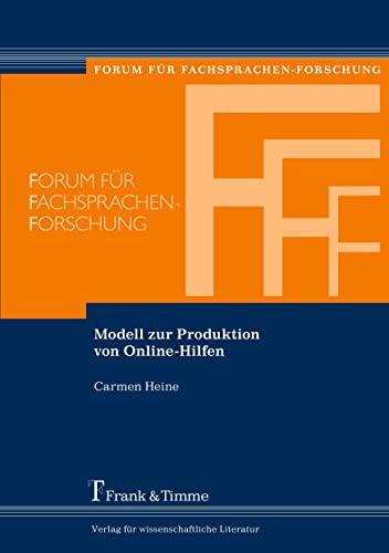 9783865962638: Modell zur Produktion von Online-Hilfen