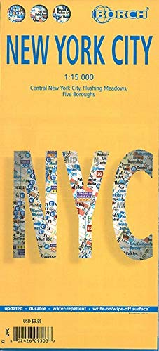 9783866093034: Laminated New York City Streets Map by Borch (English Edition)