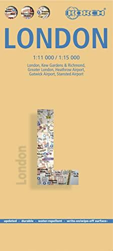 9783866093072: Londres, plano callejero plastificado. Escala 1:11.000/1:15.000. Borch.: Kew Gardens and Richmond/Heathrow/Gatwick
