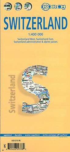 9783866093386: Laminated Switzerland Map by Borch (English, Spanish, French, Italian and German Edition)