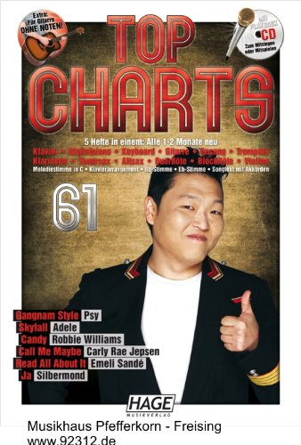 9783866263031: Top Charts 61 mit Playback CD: Nur die besten und aktuellsten Chart-Hits: Gangnam Style - Skyfall - Candy - Call Me Maybe - Read All About It - Ja