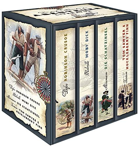 9783866478602: Die großen Klassiker der Abenteuerliteratur - Robinson Crusoe - Moby Dick - Die Schatzinsel - Tom Sawyer & Huckleberry Finn