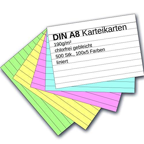 9783867154758: Karteikarten 500 Stück A8 liniert farbig sortiert (5 Farben je 100 Stück)