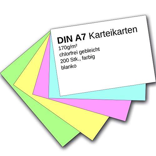 9783867154826: Karteikarten 200 Stück A7 blanko farbig sortiert (5 Farben je 40 Stück)