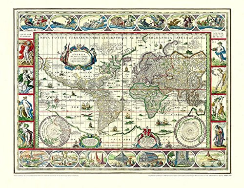 Historische WELTKARTE 1635 - Willem Janszoon Blaeu: Willem Janszoon Blaeu