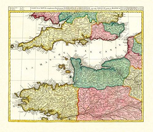 9783867776356: Historische Karte: Ärmelkanal - südliches England und nördliches Frankreich mit den Kanalinseln, um 1710: FRANKREICH  mit der Normandie und der ... Bailiwick of Jersey und Bailiwick of Guernsey