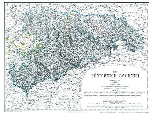 9783867779920: Historische Karte: Königreich Sachsen 1864 (plano)