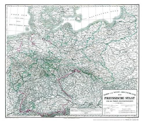 9783867779944: Historsche Karte: Preussen 1865 (plano): Nord und West - DEUTSCHLAND der PREUSSISCHE STAAT und die übrigen Zollvereinsstaaten