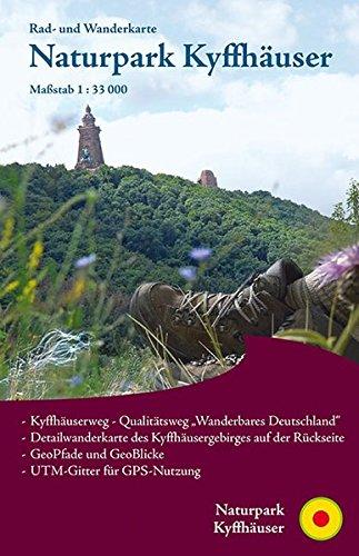 Naturpark Kyffhäuser: Rad- und Wanderkarte mit Detailkarte rund um den Kyffhäuser