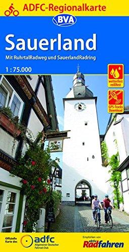 ADFC-Regionalkarte Sauerland mit Tagestouren-Vorschlägen, 1:75.000
