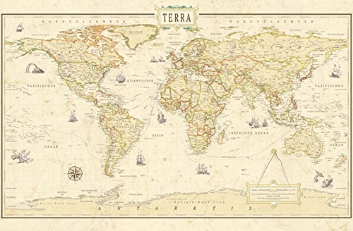 9783871299575: COLUMBUS TERRA RENAISSANCE Weltkarte: Aktuelle Informationen im antiken Renaissance-Look. Mit marmorierten Hintergrund, Routen der Entdecker, usw. 100 x 60 cm; 1:41.000.000, gedruckt auf Spezialpapier