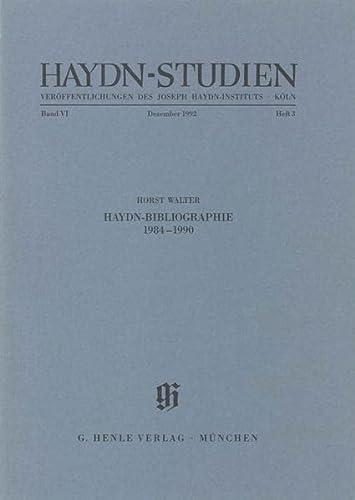 Haydn-Studien VI,3. Veröffentlichungen des Joseph Haydn-Instituts, Köln: Walter Horst