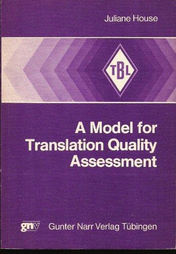 9783878080886: Model for Translation Quality Assessment (Tübinger Beiträge zur Linguistik ; 88)