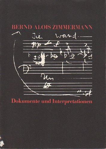 9783879091614: Bernd Alois Zimmermann: Dokumente und Interpretationen (German Edition)