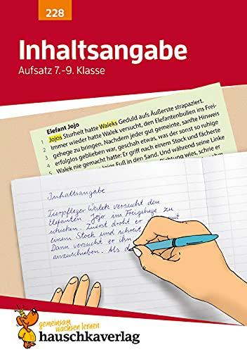 9783881002288: Inhaltsangabe. Aufsatz 7.-9. Klasse: Ein Übungsprogramm mit Lösungen für die 7. - 9. Klasse