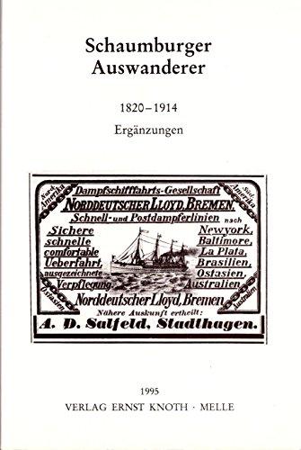 9783883682730: Schaumburger Auswanderer, 1820-1914: Ergänzungen (Schaumburger Studien)