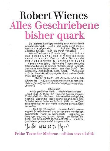 9783883772677: Alles Geschriebene bisher quark (Frühe Texte der Moderne) (German Edition)