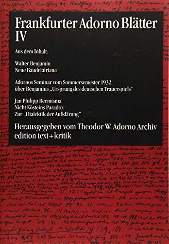 9783883775081: Frankfurter Adorno Blätter 4