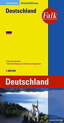 9783884453605: Falk Länderkarte Deutschland 1 : 800 000: Hervorhebung der Sehenswürdigkeiten - Ortsverzeichnis
