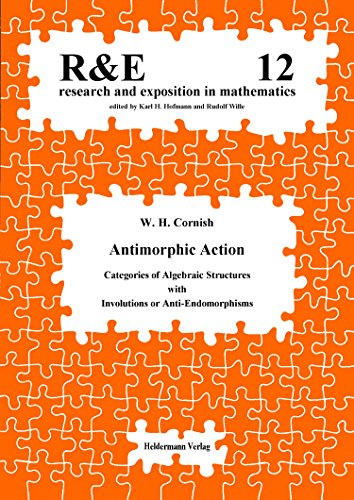9783885382126: Antimorphic Action: Categories of Algebraic Structures with Involutions or Anti-Endomorphisms (Research & Exposition in Mathematics)