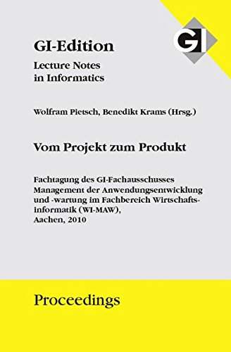 9783885792727: GI Proceedings 178 Vom Projekt zum Produkt: Fachtagung des GI-Fachausschusses WI-MAW, Aachen 2020