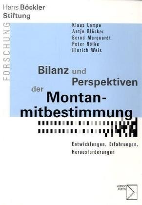 9783894049768: Bilanz und Perspektiven der Montanmitbestimmung