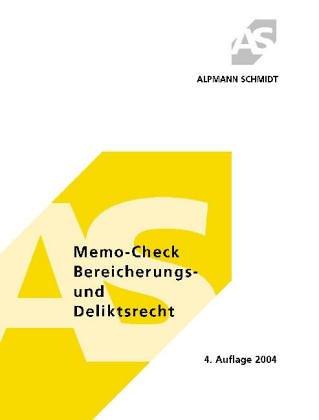 Beispielbild für Memo-Check, Bereicherungs- und Deliktsrecht zum Verkauf von Antiquariat BuchX
