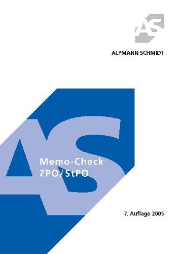 Stock image for Memo-Check ZPO/ StPO for sale by medimops
