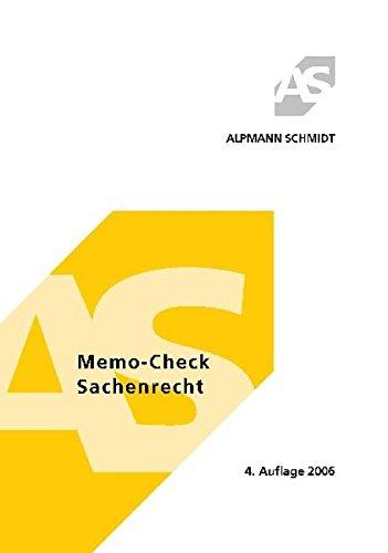 9783894768423: Memo-Check Sachenrecht. 315 Fragen und Antworten