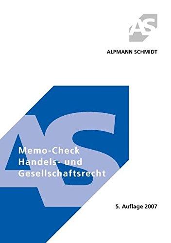 9783894769475: Memo-Check - Handels- und Gesellschaftsrecht