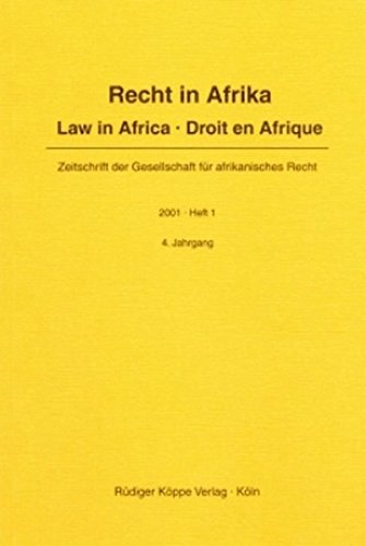 9783896453266: Law in Africa · Recht in Afrika · Droit en Afrique 2001/1 (Law in Africa · Recht in Afrika · Droit en Afrique Year 2001, Issue 1) (English, German and French Edition)